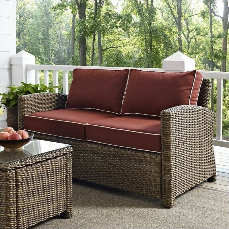 Patio Furniture Loveseat Cushions: Bradenton Outdoor Wicker Loveseat With Sangria Cushions