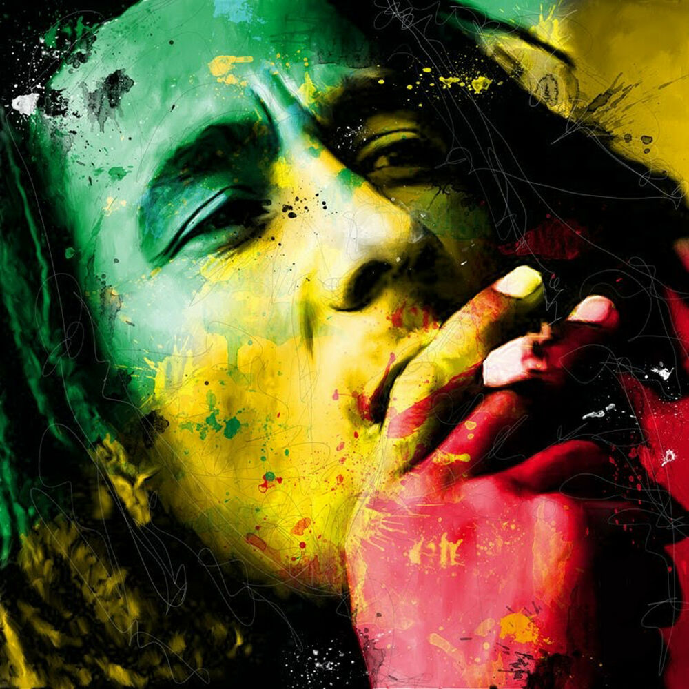 Bob Marley Face Colourful Abstract WALL ART CANVAS FRAMED OR POSTER ...