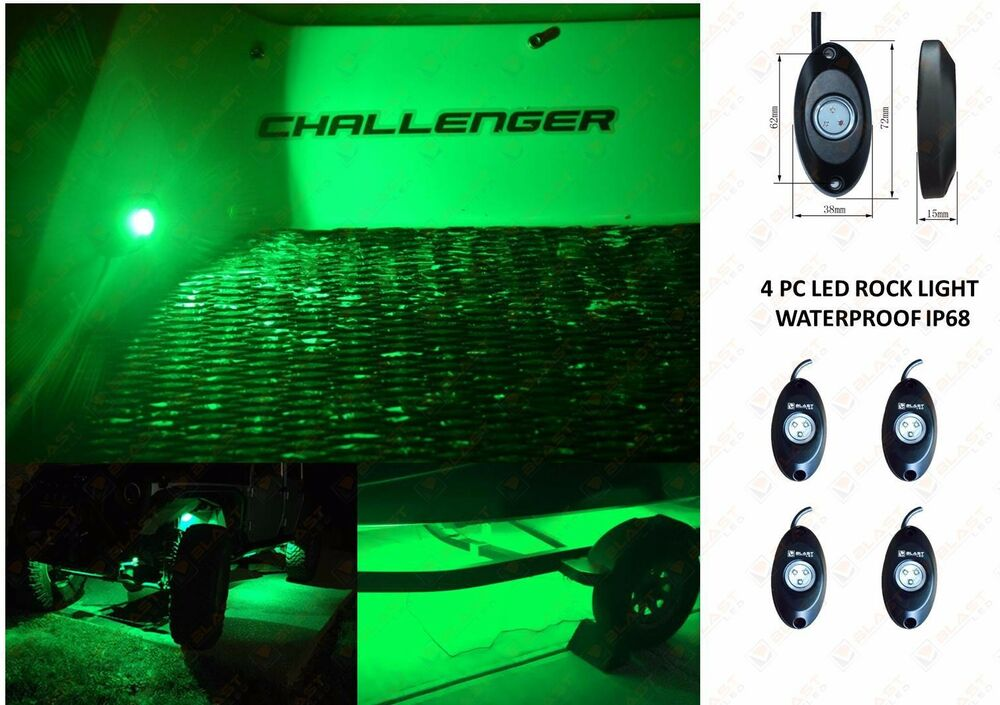 4 LED Rock Lights Kit Rock Crawler LED Under Body Green