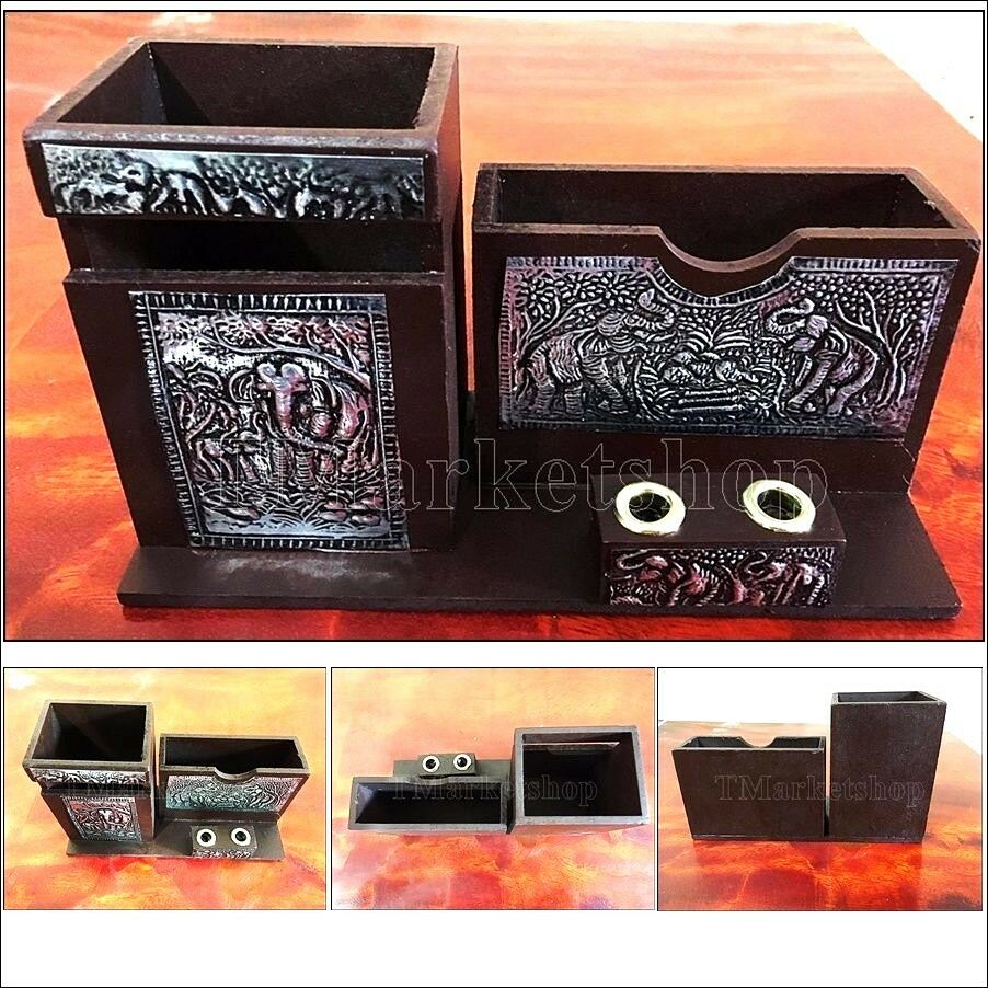 Storage Wood Art Organizer Pen Pencil Business Card Box