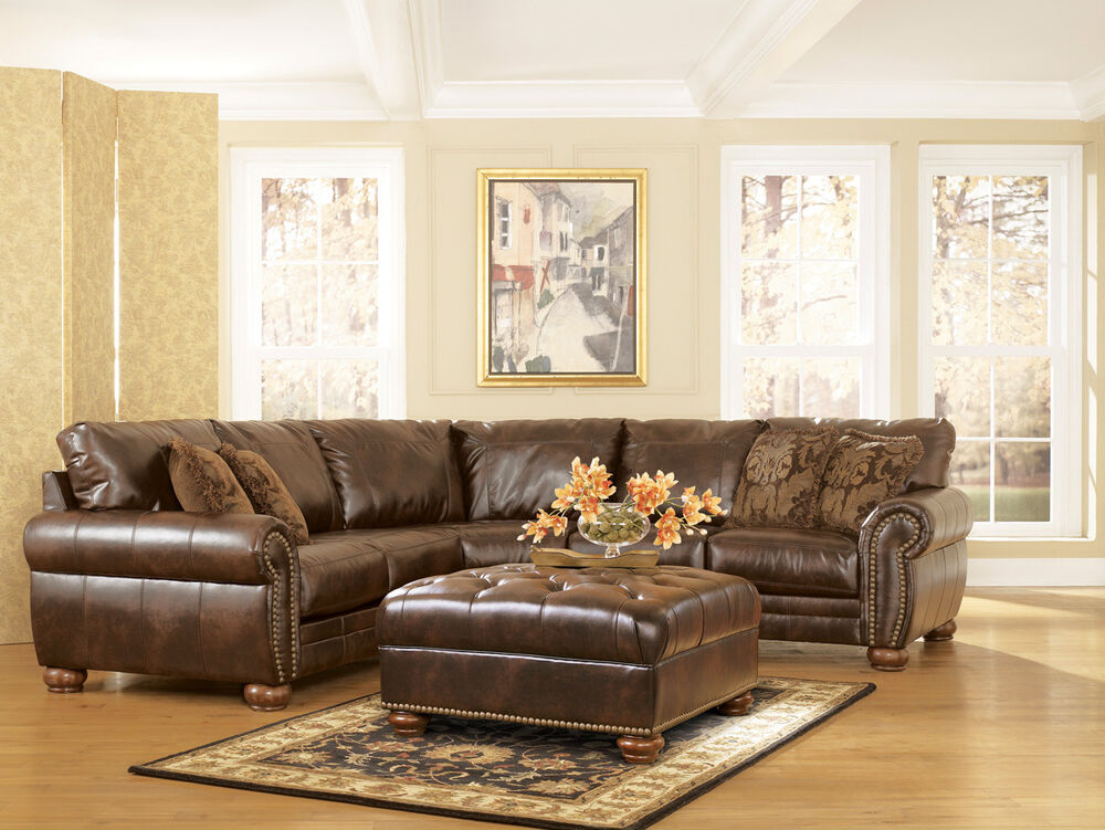 Traditional antique brown bonded leather sectional sofa for Traditional leather sectional sofa