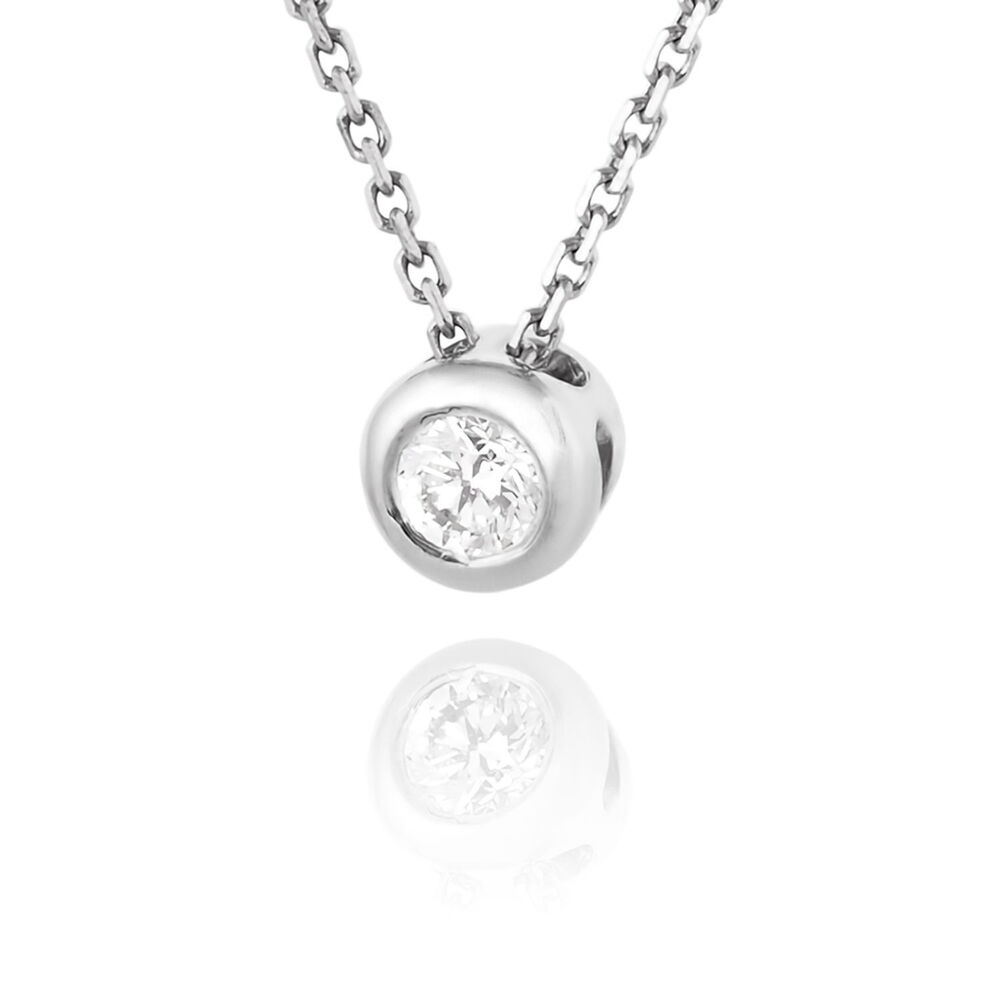 solitaire round diamond pendant necklace 14k white gold. Black Bedroom Furniture Sets. Home Design Ideas