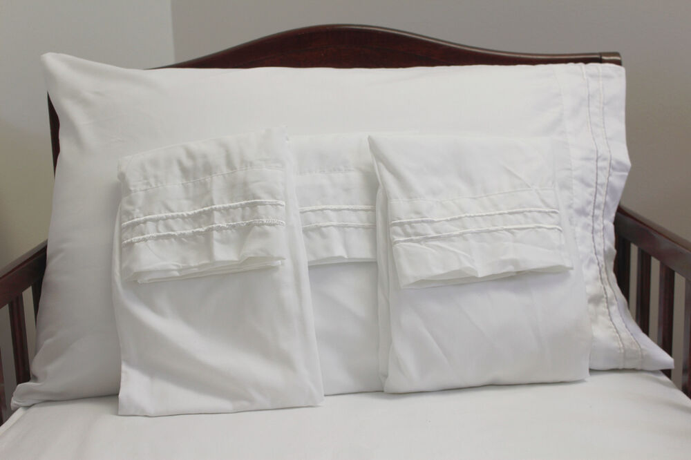4pc New Solid White Embroidered Pillowcases Standard