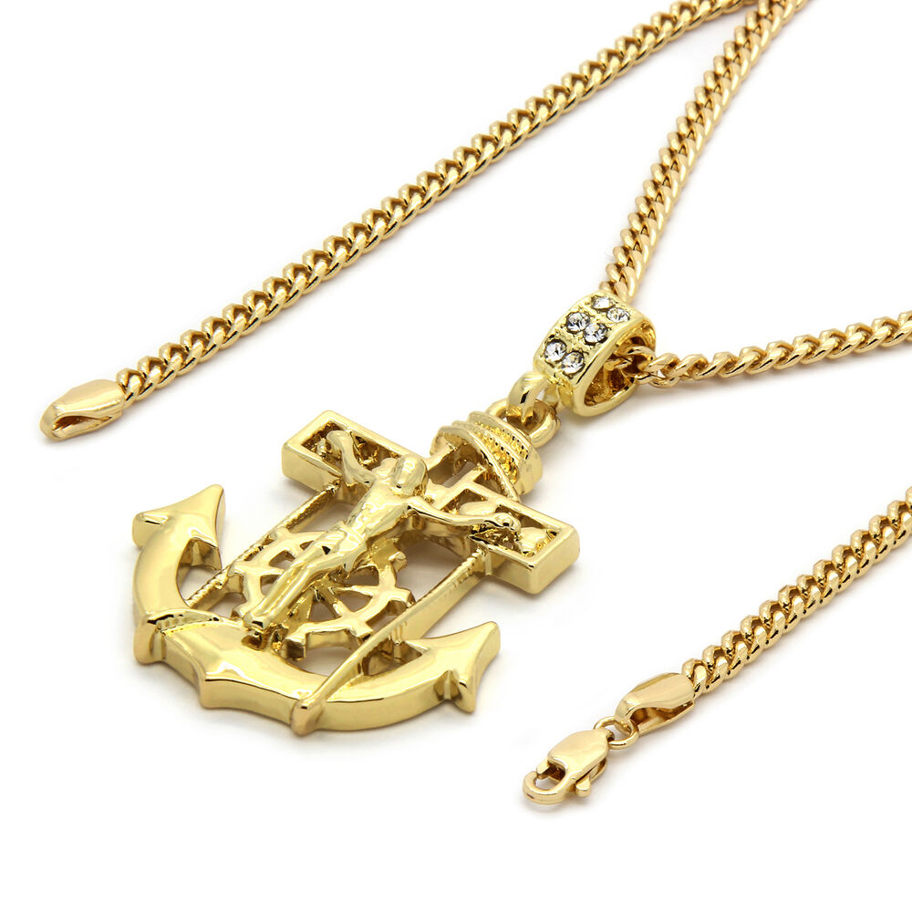 mens 14k gold plated jesus anchor pendant with 30 quot inches