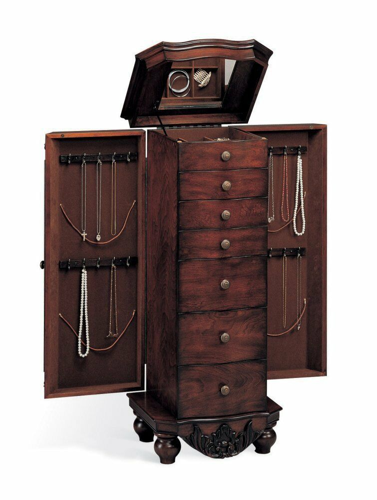 coaster traditional style jewelry armoire antique cherry. Black Bedroom Furniture Sets. Home Design Ideas