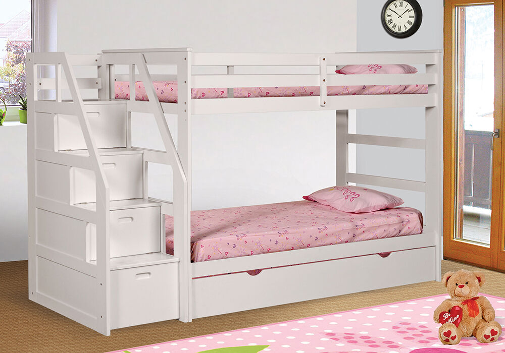 White finish twin over twin size bunk bed with trundle for Bunk beds with stairs uk