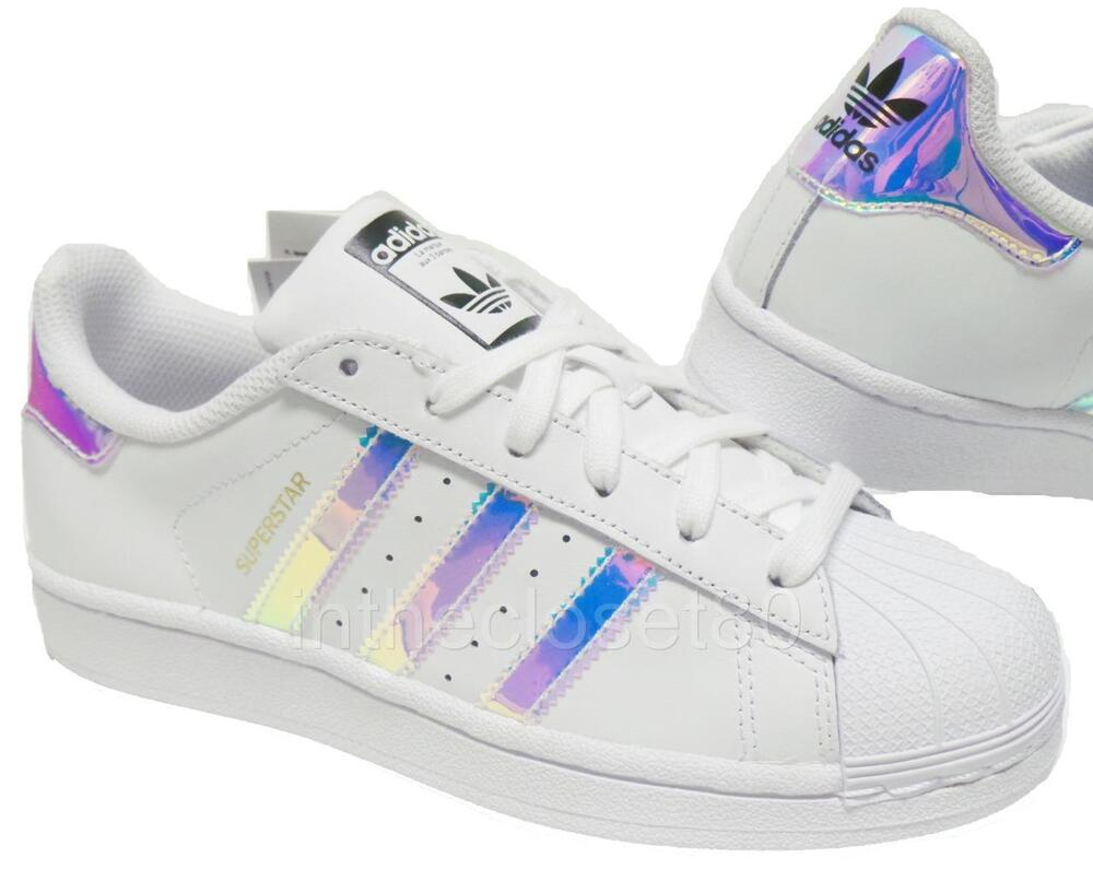 Adidas Superstar Iridescent GS White Silver Juniors Womens Girls Trainers AQ6278 | eBay