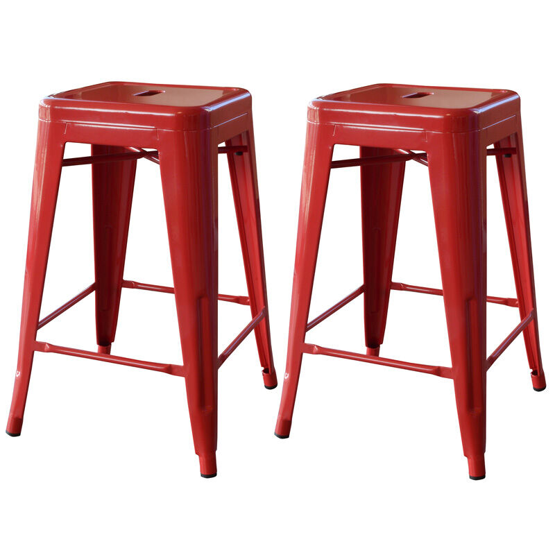 Amerihome 24 Quot Red Metal Bar Stool 2 Piece Bs24red New Ebay