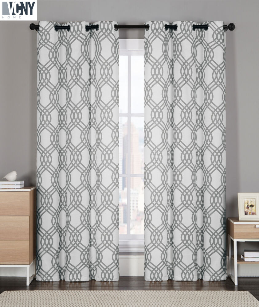 2 Pack: VCNY® Geometric Grommet Top Curtain Panels (Grey