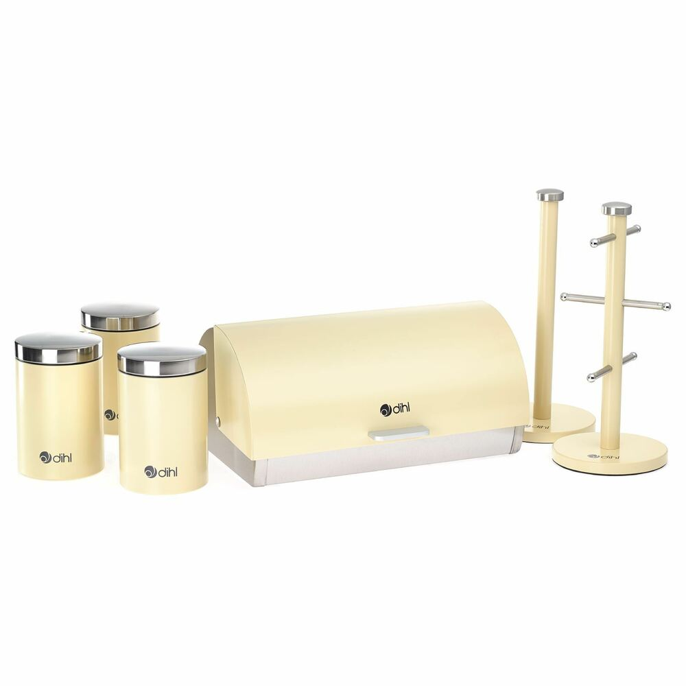 cream kitchen storage dihl 6 kitchen storage set bread bin tea 3011