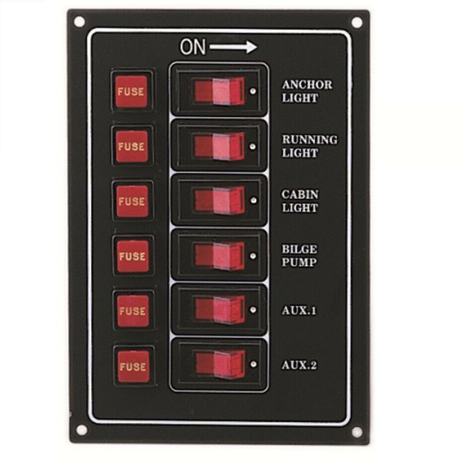 marine 6 gang ip65 fuse switch panel 12v black boat yacht. Black Bedroom Furniture Sets. Home Design Ideas