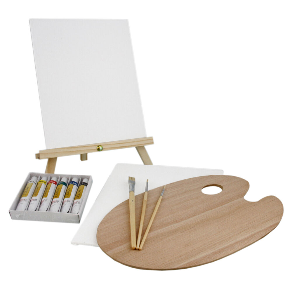 Us art supply 13 piece oil painting set with mini table for Canvas painting supplies