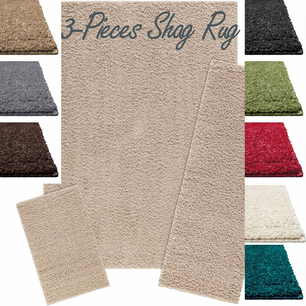 Shag Area Accent Runner Rug 3-Piece Solid Thick Soft Home