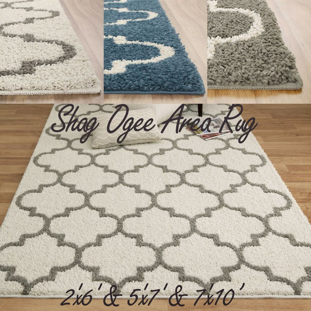 Shag trellis area rug 2color thick soft home olefin plush for Thick area rugs sale