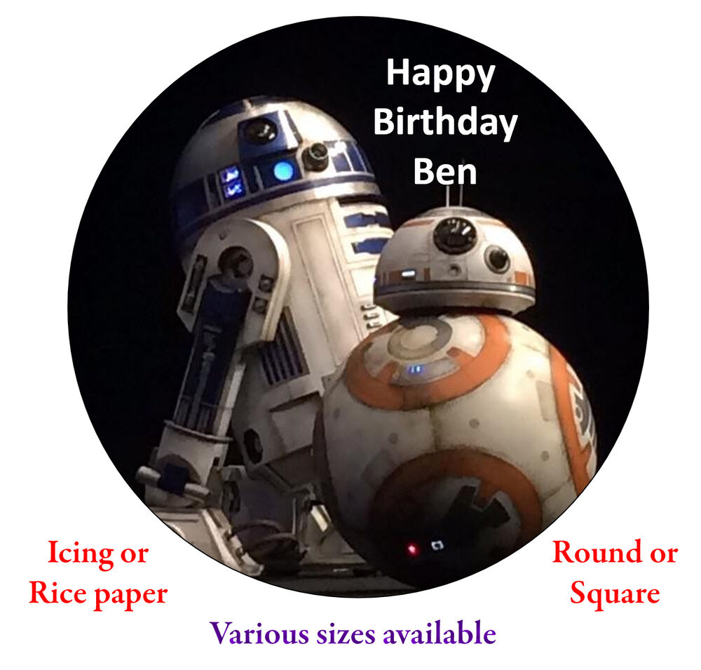 r2d2 and bb8 wedding cake topper r2d2 bb8 7 8 quot wars personalised cake topper 18949