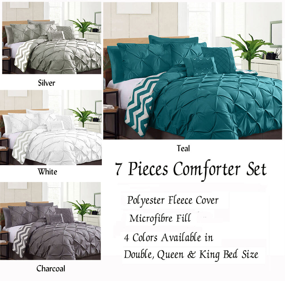 reversible 7 piece pinch pleat comforter set coverlet double queen king size bed ebay. Black Bedroom Furniture Sets. Home Design Ideas