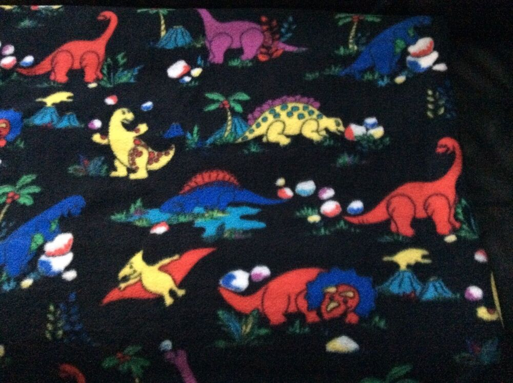 Rare dinosaur fleece fabric on black background 60 w for Purple dinosaur fabric