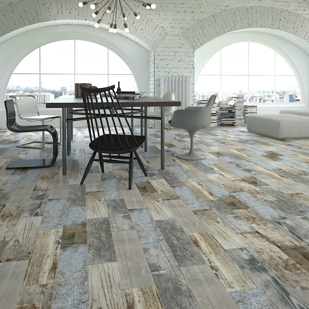 Reclaimed Rustic Blue Wood Effect Porcelain Wall Floor