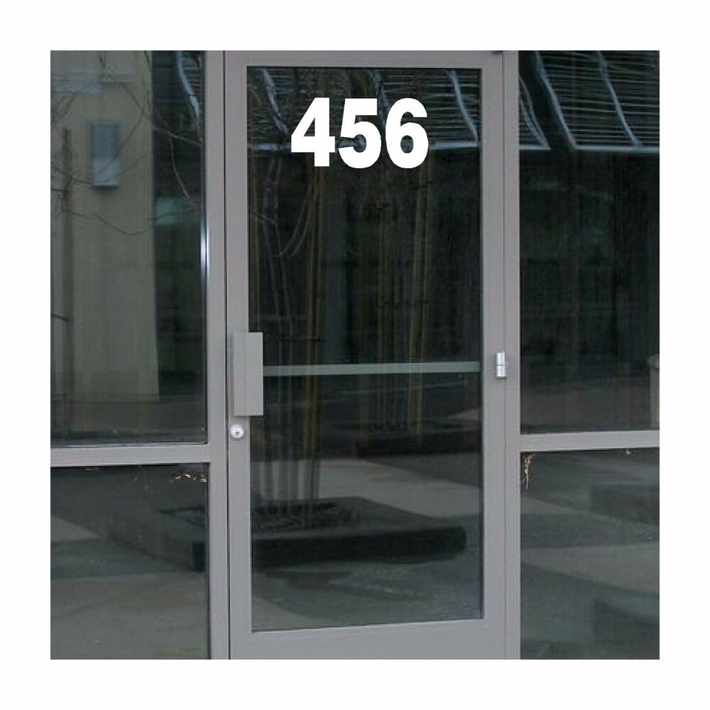Business address number vinyl decal on window street for Window number