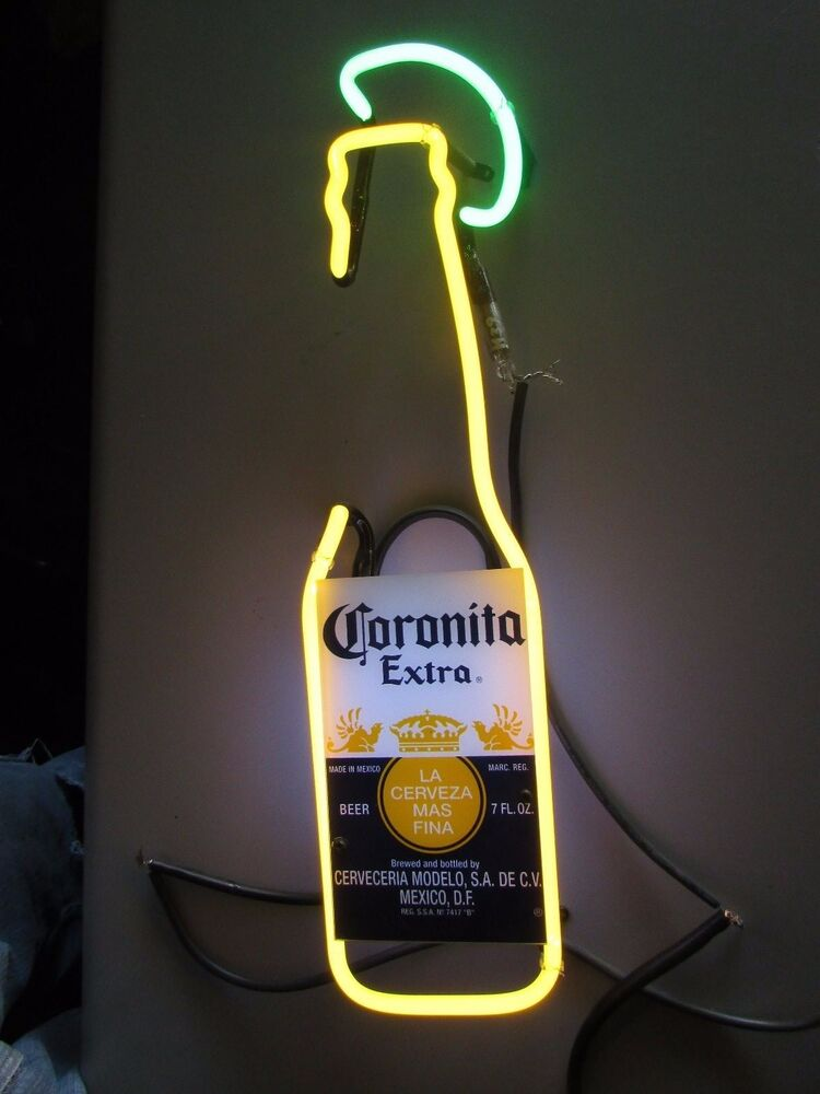 Corona Extra 7 Oz Bottle W Lime Beer Neon Sign Glass