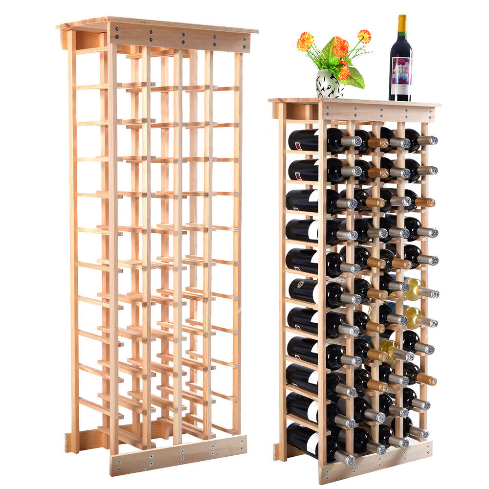 new 44 bottle wood wine rack storage display shelves kitchen decor natural ebay. Black Bedroom Furniture Sets. Home Design Ideas