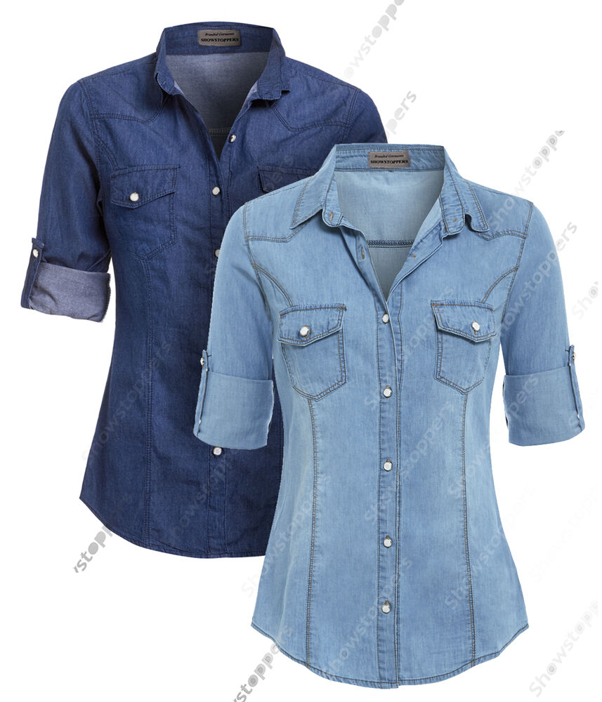 New womens denim shirt ladies classic fitted shirts size 8 for Blue denim shirt for womens