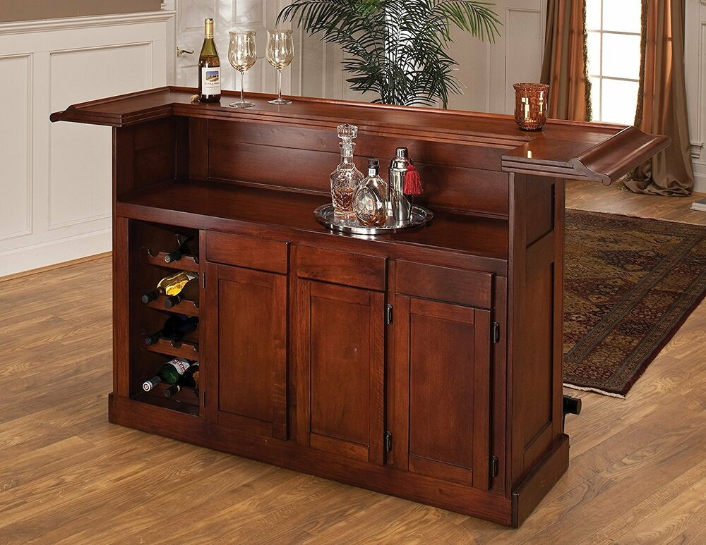 Hillsdale 62578ache Wooden Classic Home Bar Large W Rack And Cabinets In Cherry Ebay