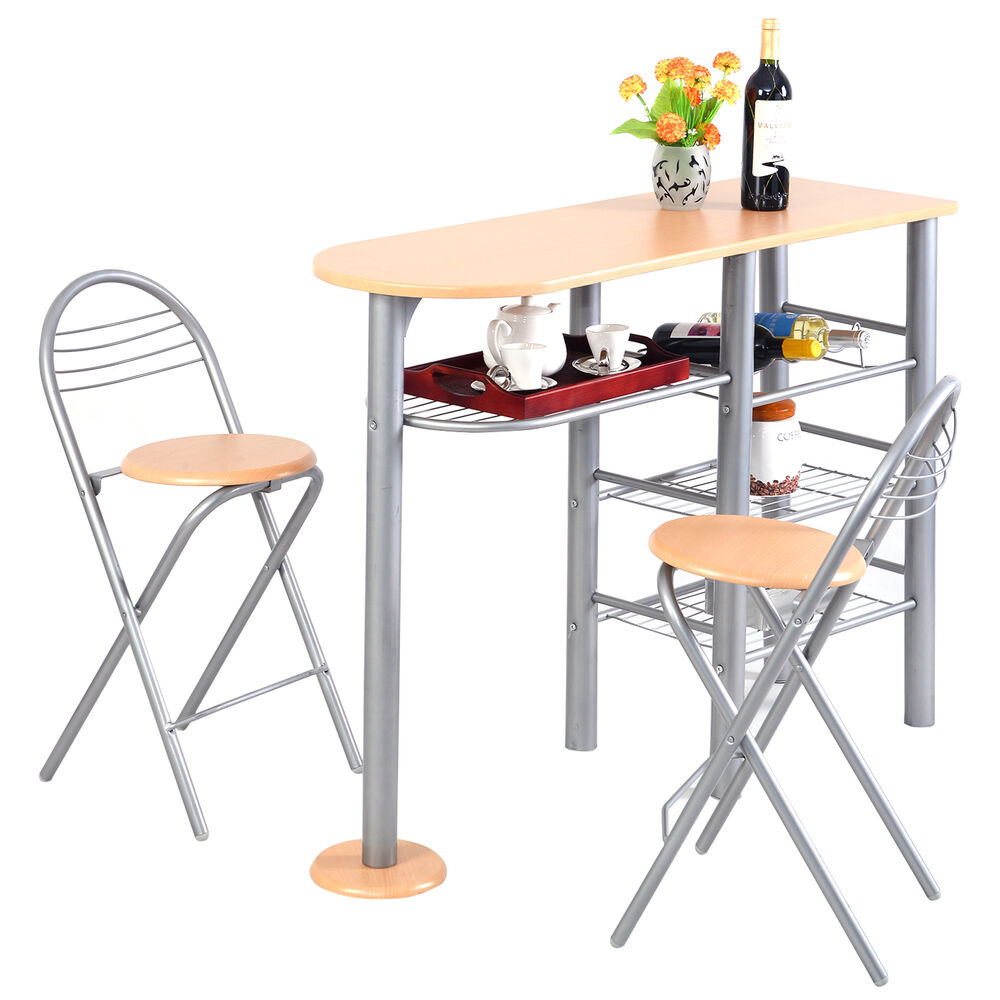 3 Piece Dining Set Bar Stools Pub Table Breakfast Chairs: Pub Dining Set Counter Height 3 Piece Table And Chairs Set