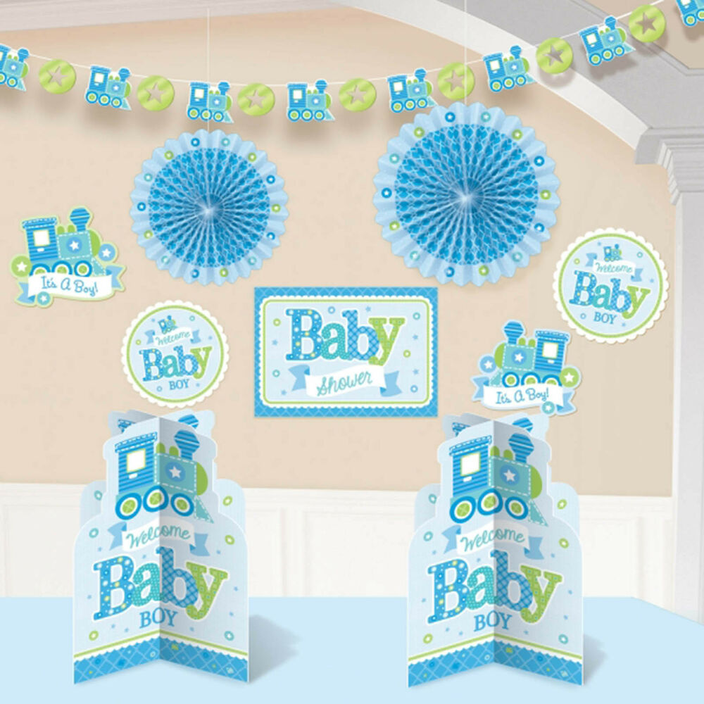10 piece little blue welcome baby boy shower party paper for Baby shower decoration kits boy
