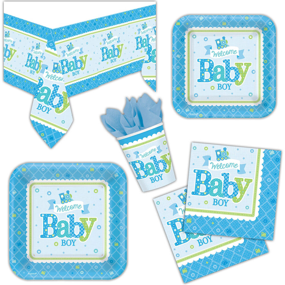 baby boy shower party plates cups napkins tableware listing ebay