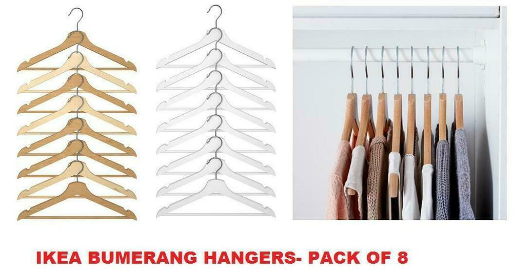 Ikea bumerang wooden adult clothes suits hangers pack of for Wooden hangers ikea