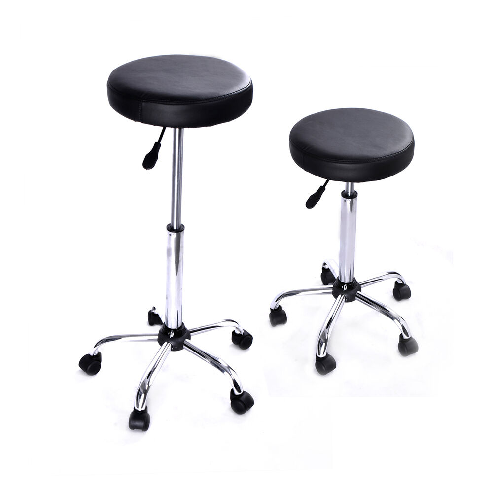 3 Bar Stools High Seat Chairs Adjustable Swivel Counter: Set Of 2 Bar Stools PU Leather Barstools Chairs Adjustable