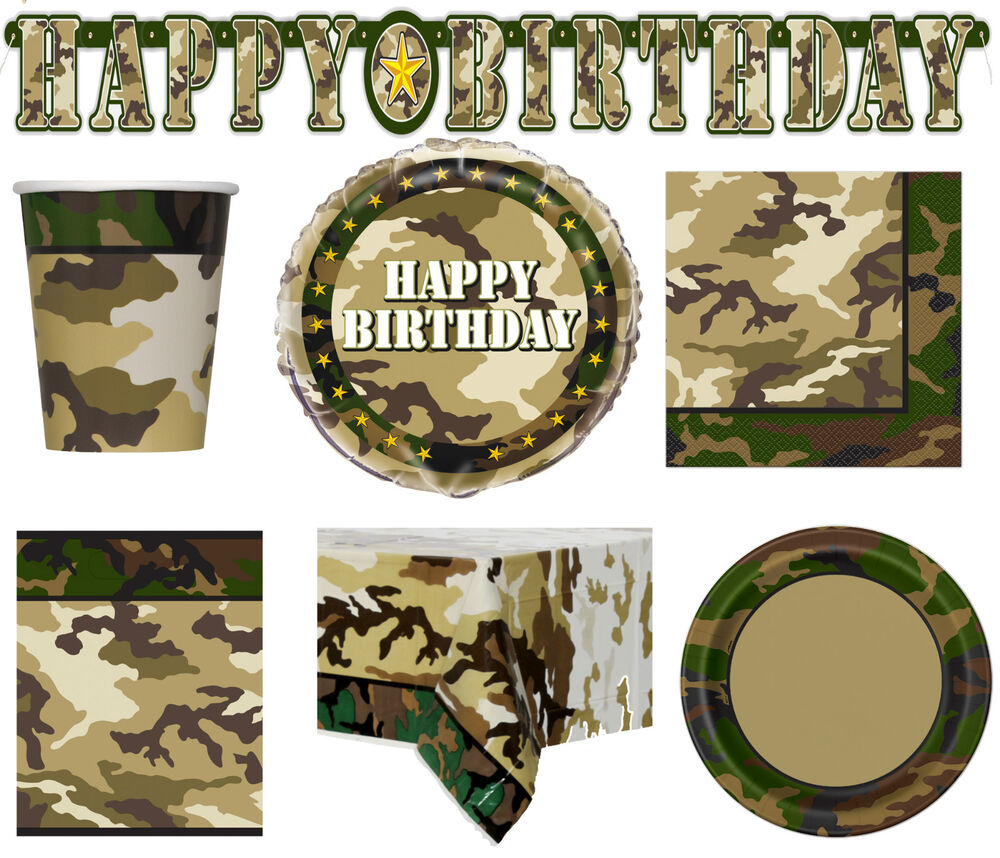 Army camoflauge military birthday party tableware supplies for Army party decoration ideas
