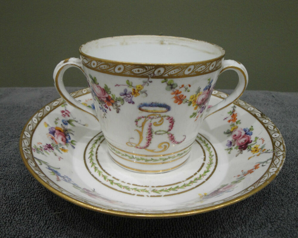 exceptional cup two handles and its sub cup 18 me porcelain sevres ebay. Black Bedroom Furniture Sets. Home Design Ideas