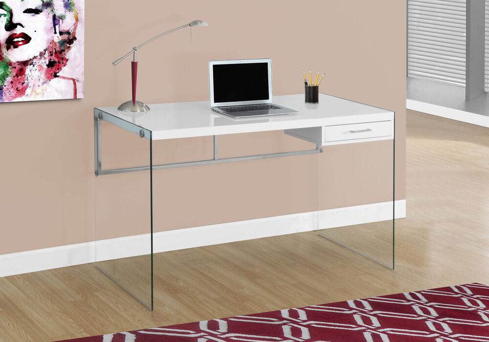 Monarch Computer Desk 48 Inch L Glossy White