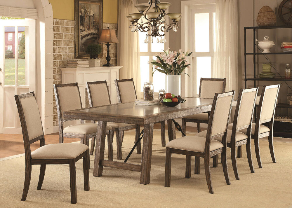 dining room contemporary rustic oak 9p dining set wooden top dining table chairs ebay. Black Bedroom Furniture Sets. Home Design Ideas