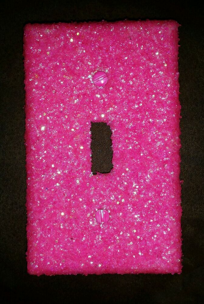 Neon Pink Glitter Light Switch Plate Cover Multi Outlets