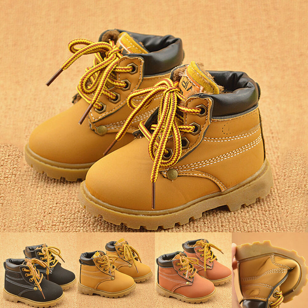 Winter Warm Kids Boys Girls Toddler Leather Snow Boots ...