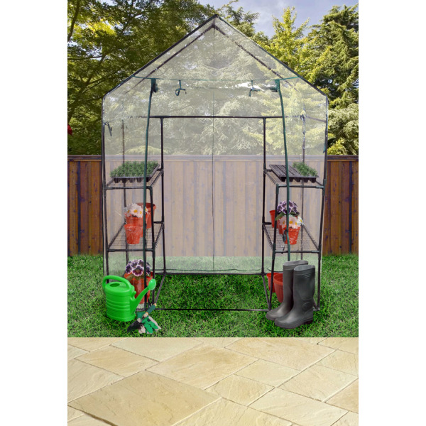 Walk In Garden Box: LARGE WALK IN GREENHOUSE WITH DOUBLE SHELVES PVC COVER