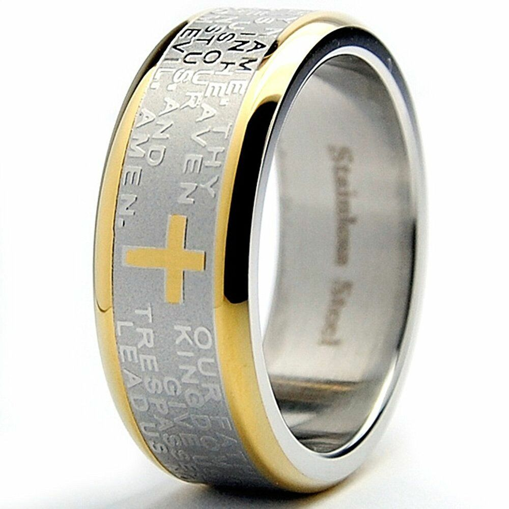 Stainless Steel Two Tone Gold Plated Our Father Lord S