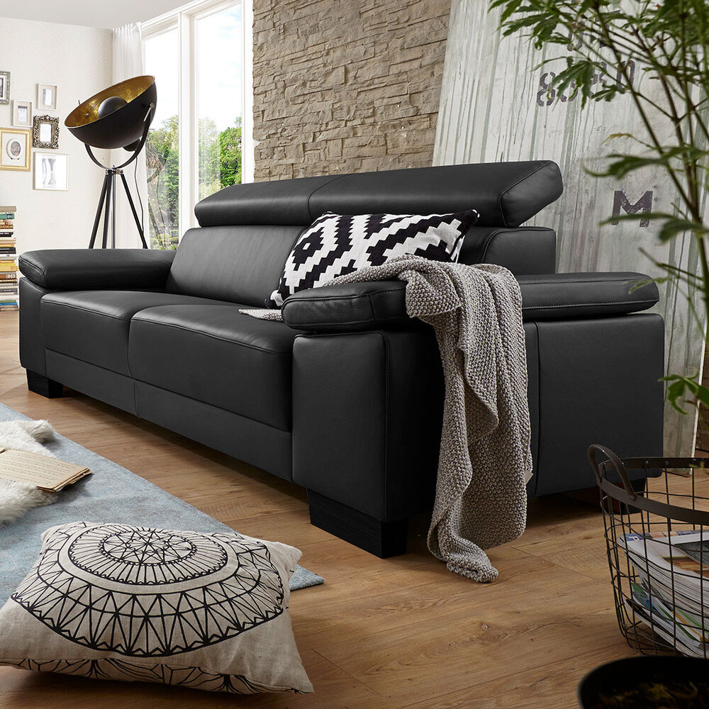 sofa santiago 3er sofa dreisitzer in leder schwarz mit. Black Bedroom Furniture Sets. Home Design Ideas