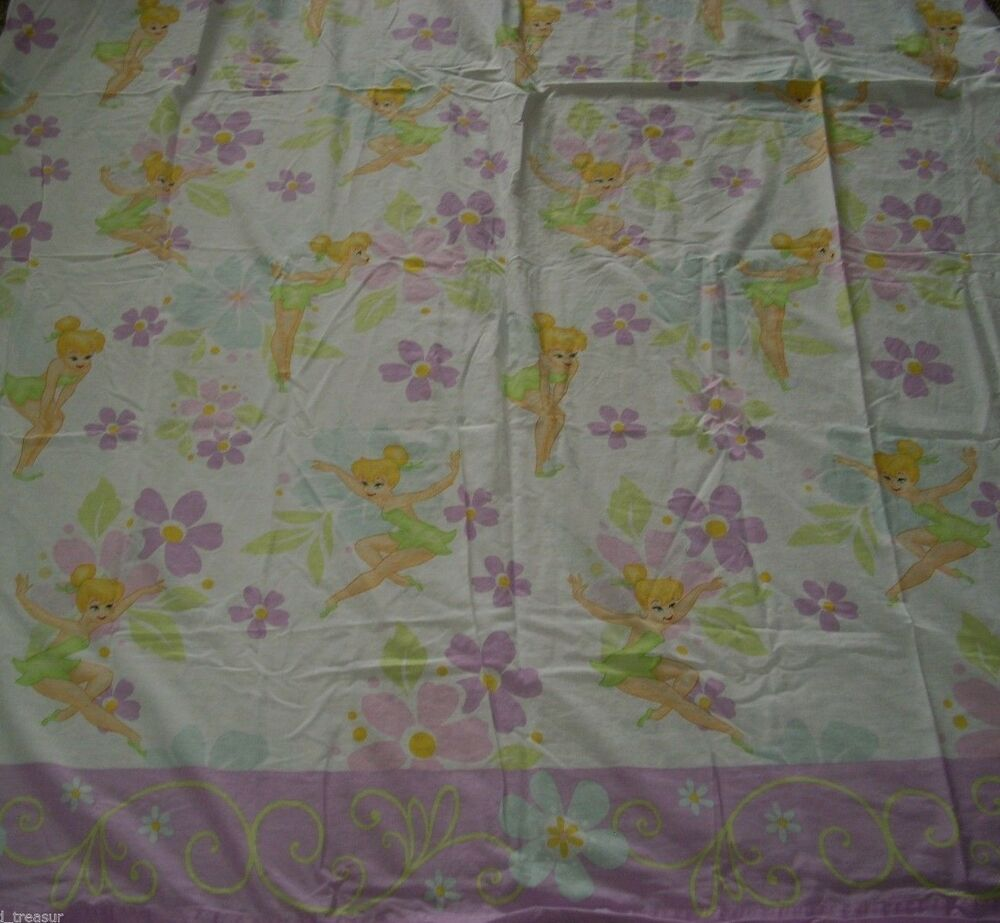 Disney faries tinkerbell pixie 1 twin flat sheet bedding for Bedding fabric bedding