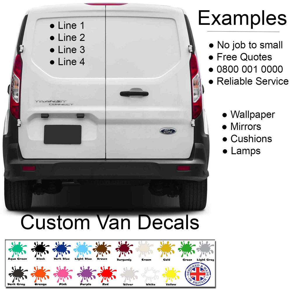 Details about custom van personalised car vehicle graphics sign writing decals stickers