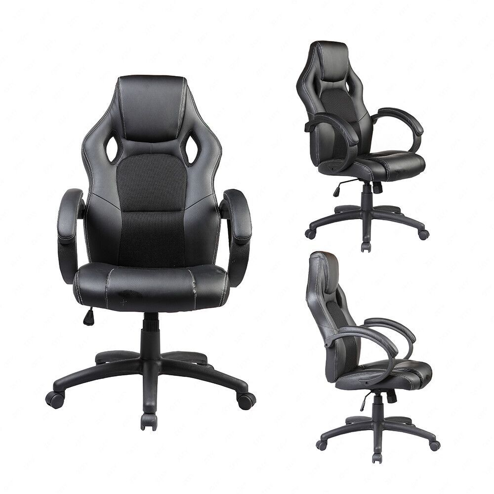 black leather executive swivel office chair race car style bucket seat high back ebay. Black Bedroom Furniture Sets. Home Design Ideas