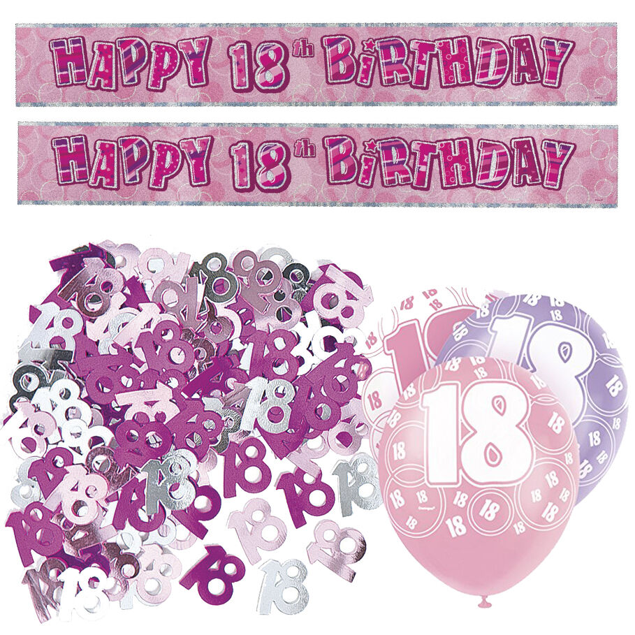Pink 18th Birthday Banner Party Decorations Pack Kit Set