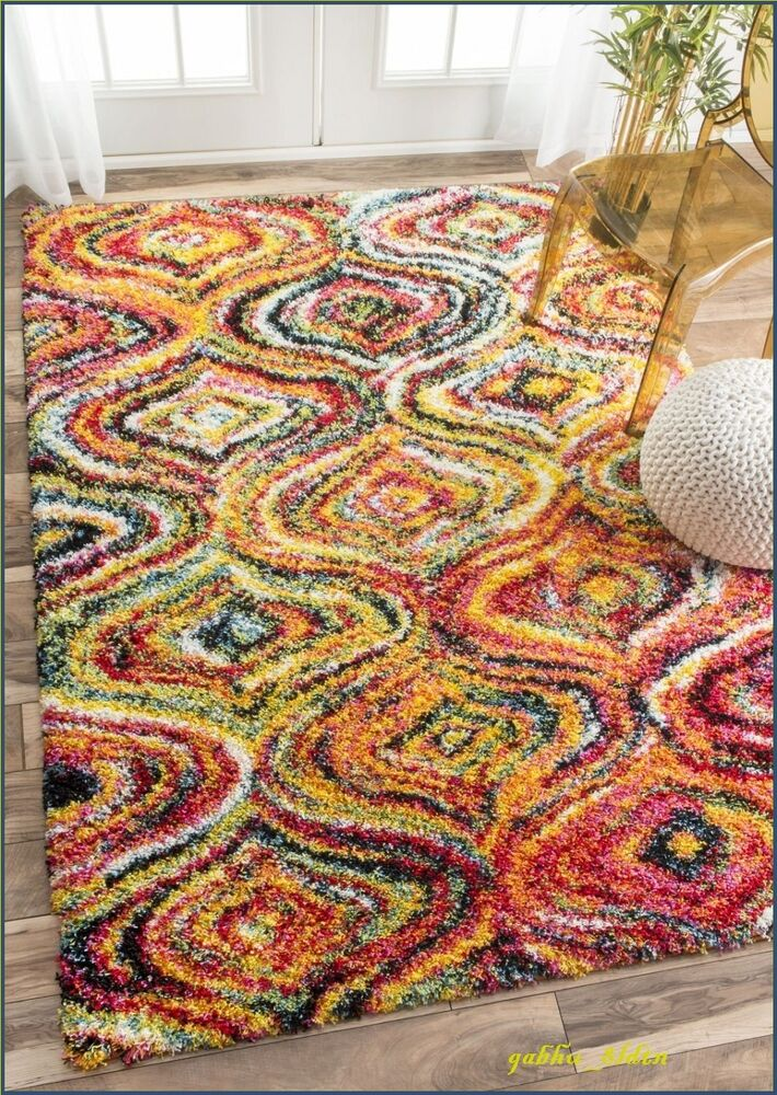 Rainbow shag area rug soft floor carpet unique home decor for International home decor rugs