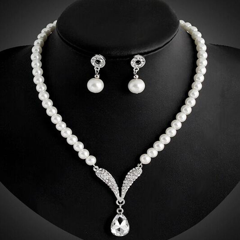 Women Bridal Wedding Jewelry Set Pearl Crystal Rhinestone Necklace Stud Earrings | EBay