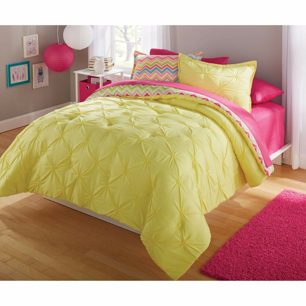 bright chevron ruched twin full queen 2 3 pc yellow bedding comforter set new ebay. Black Bedroom Furniture Sets. Home Design Ideas