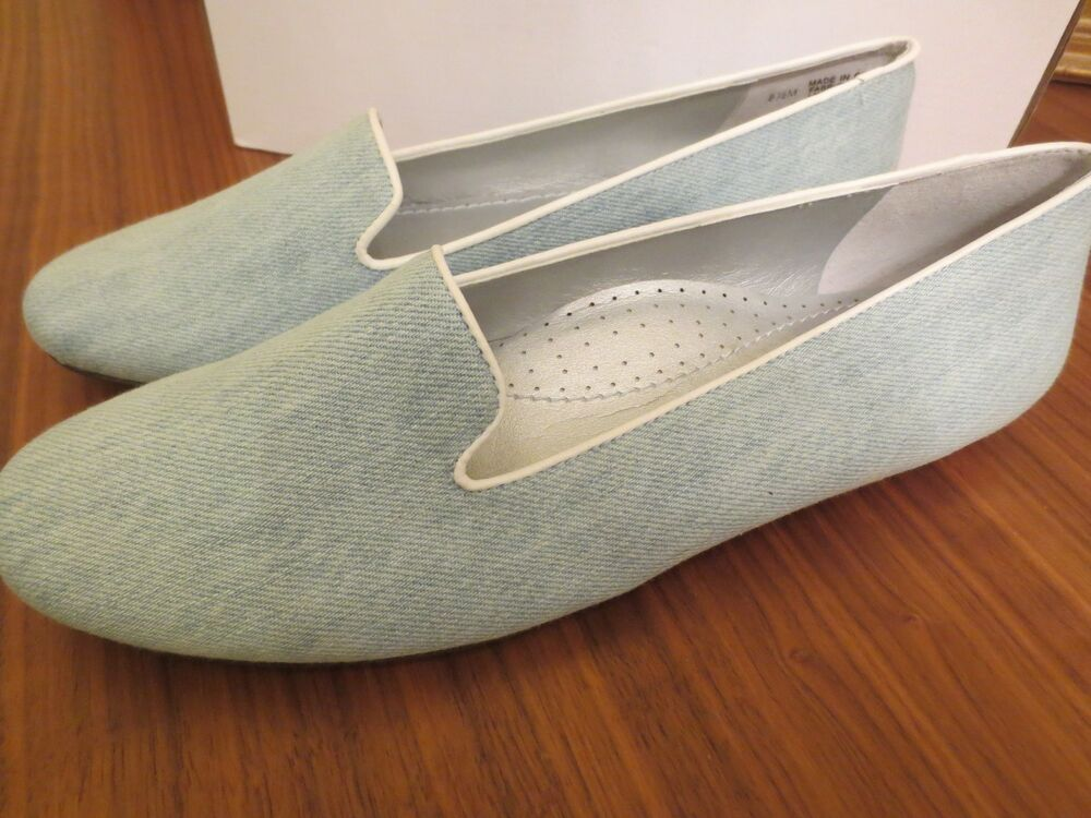 Nib Chicos Womens Chambray Blue Denim Fabric Loafer Flat