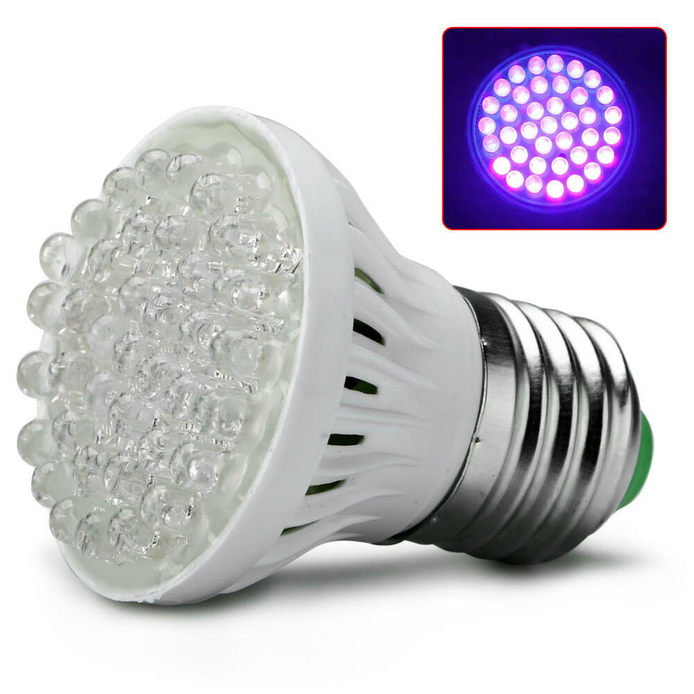Ultra Bright E27 38 LED UV Ultraviolet Purple Light GLOW ...